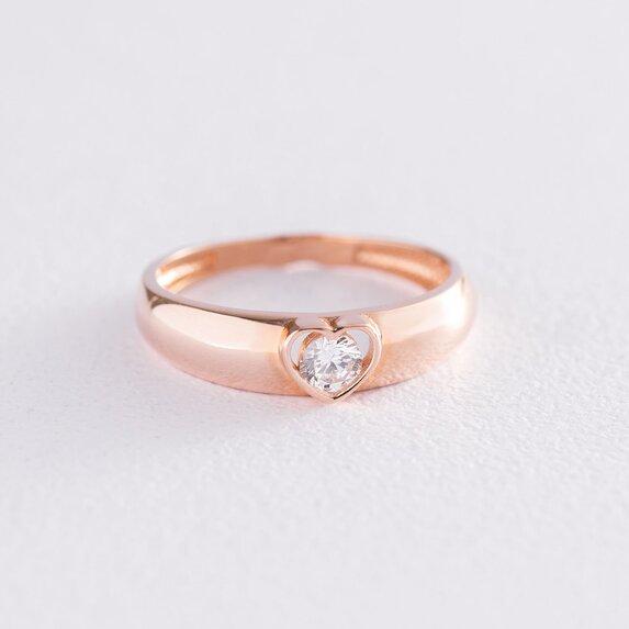 Золотое кольцо Сердце с фианитом к06588