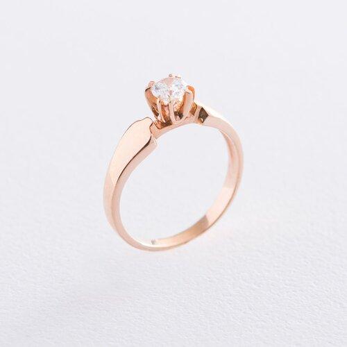 Помолвочное кольцо в красном золоте (фианит) к06093