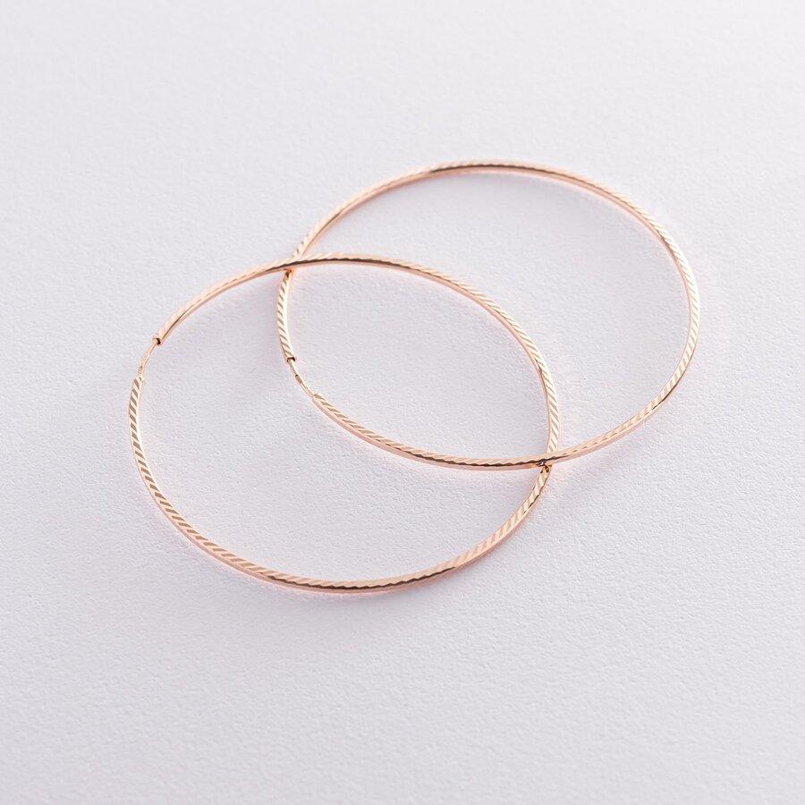 Серьги - кольца в красном золоте (6 см) с01882