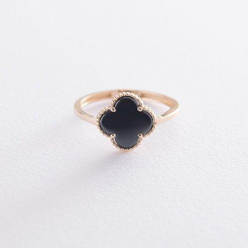 """Золотое кольцо """"Клевер"""" с ониксом к05685"""