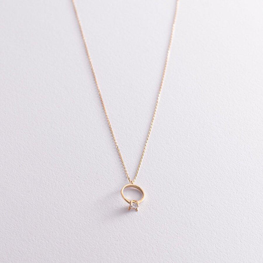 Колье с помолвочным кольцом в желтом золоте (фианит) кол00771