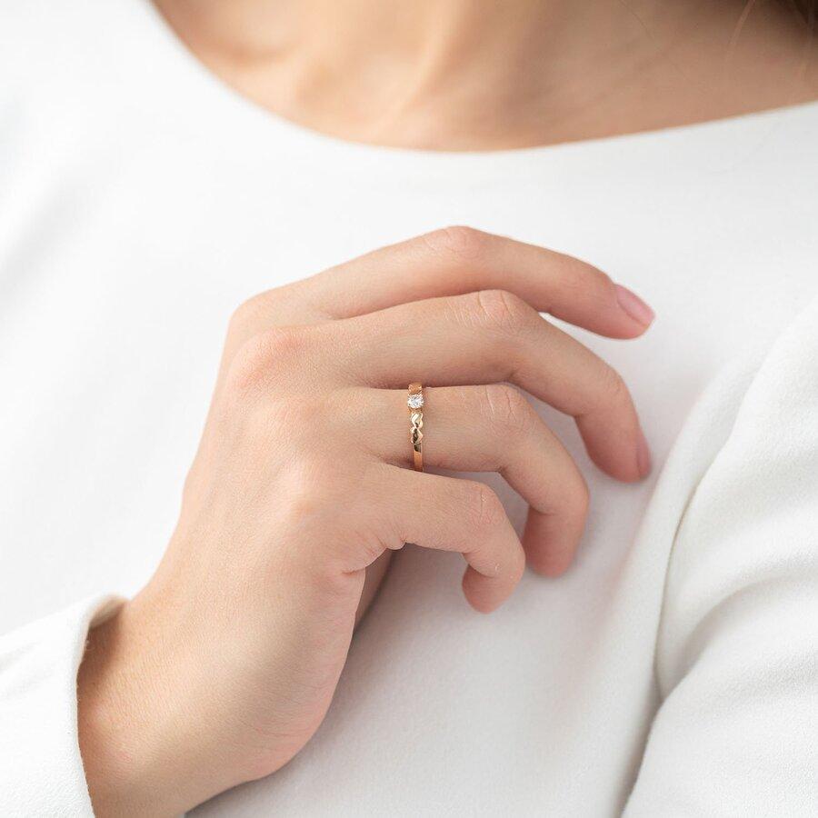 """Золотое кольцо """"Сердечки"""" (фианит) к05801"""
