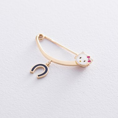 "Золотая булавка ""Hello Kitty и подкова"" зак00300"