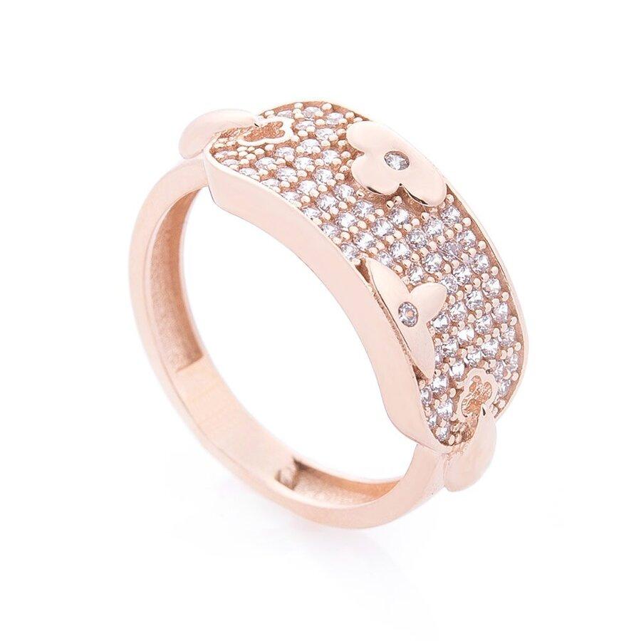 Золотое кольцо с клевером (фианит) к06253