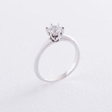 Помолвочное кольцо в белом золоте (куб. цирконий Swarovski) к06315