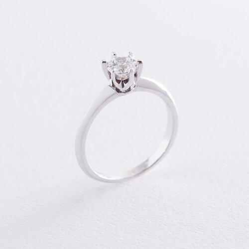 Помолвочное кольцо в белом золоте (куб цирконий Swarovski) к06315