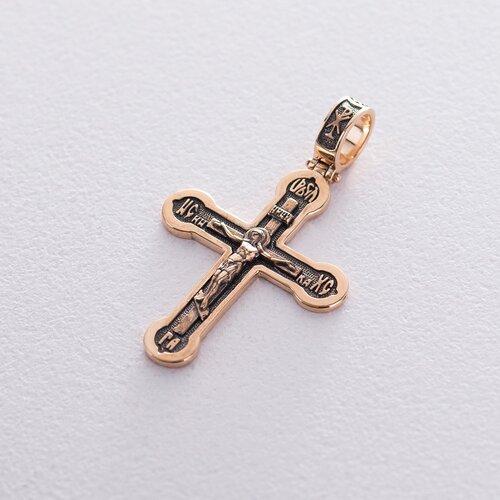 """Золотой православный крест """"Распятие. Спаси и Сохрани"""" с чернением п02823"""