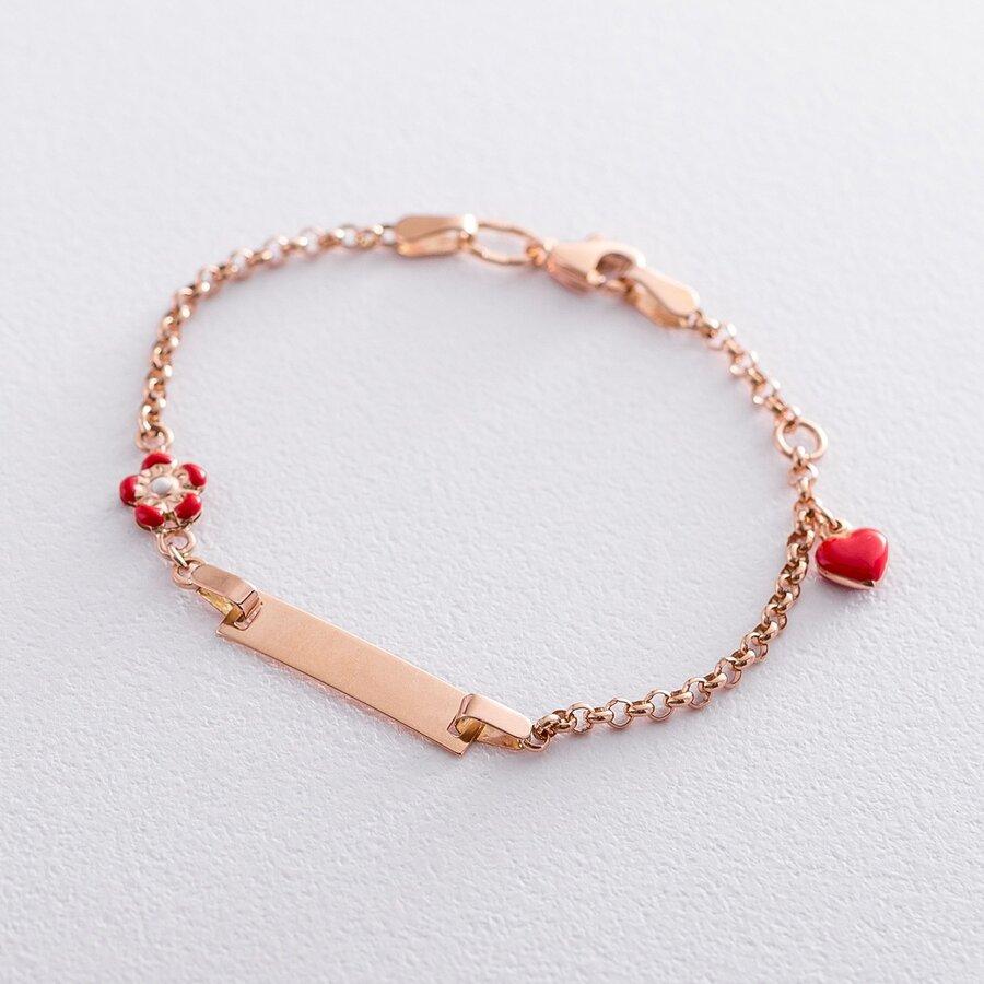 """Детский браслет для гравировки """"Сердце и цветок"""" б04213"""