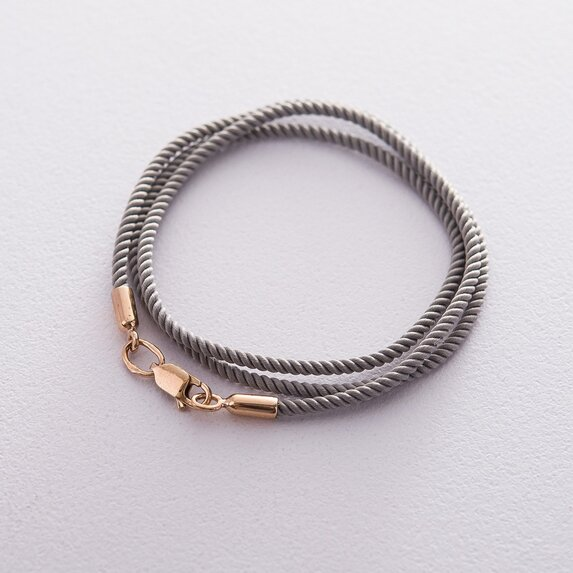 Шелковый шнурок с гладкой золотой застежкой (2мм) кол00951