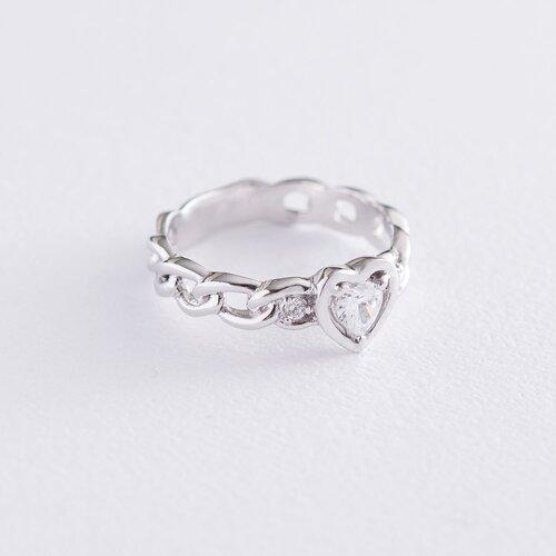 """Кольцо """"Сердце"""" в белом золоте (фианит) к06288"""