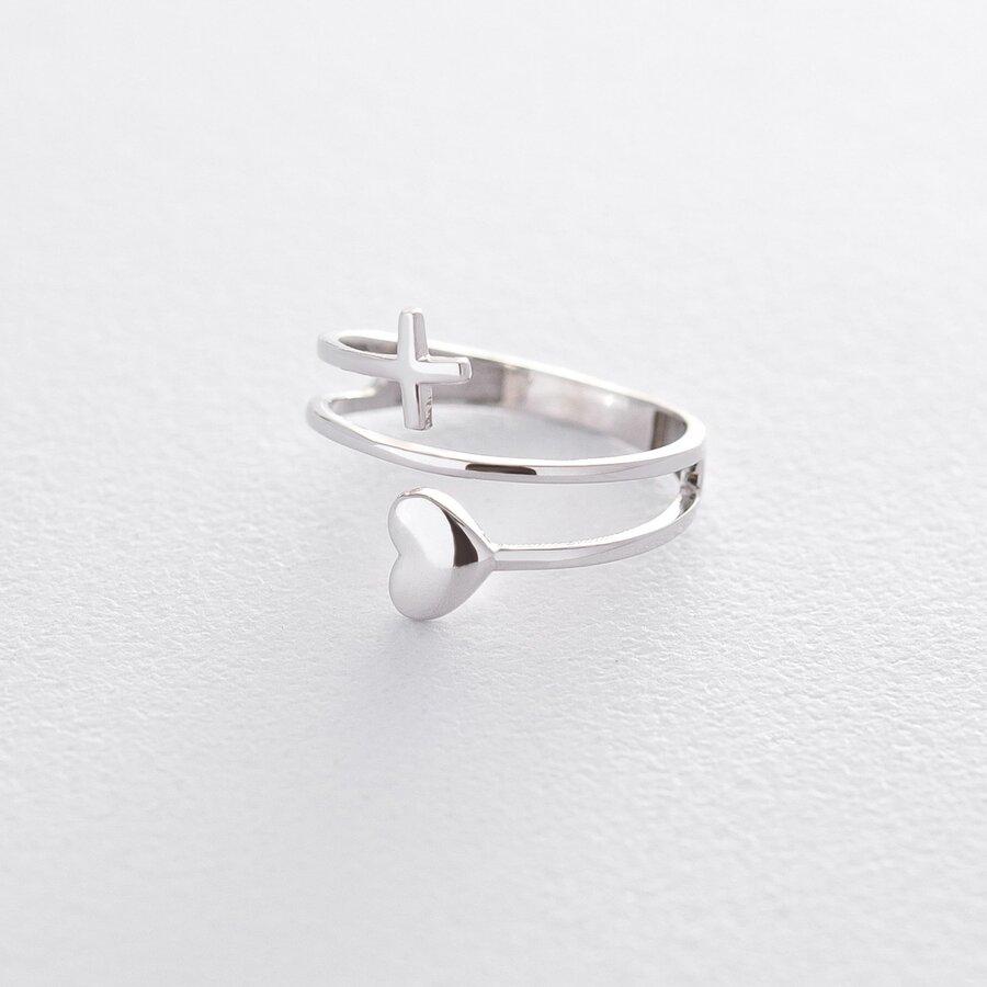 Золотое кольцо с крестиком и сердечком к05096