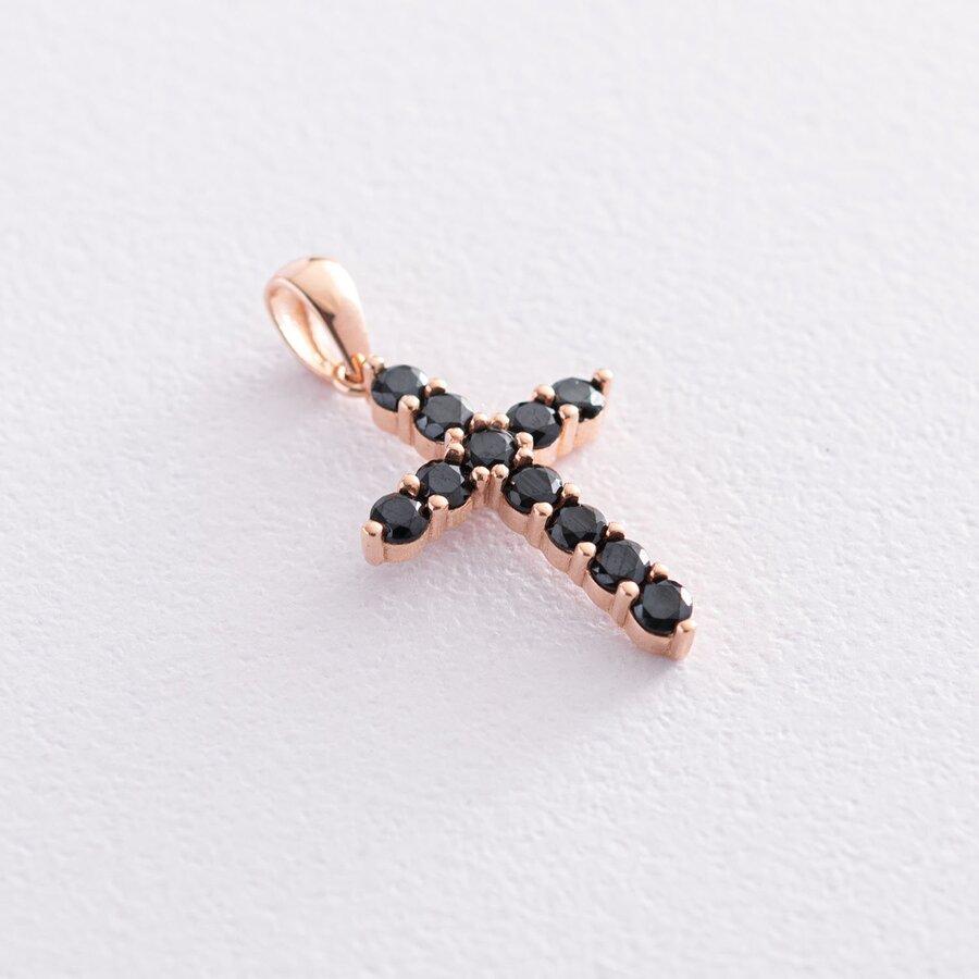 Золотой крестик с черными фианитами п03563