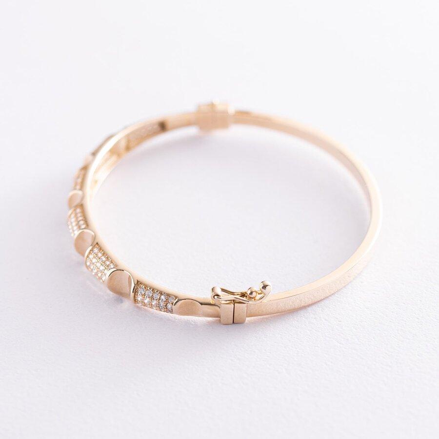 Жесткий золотой браслет с фианитами б04491