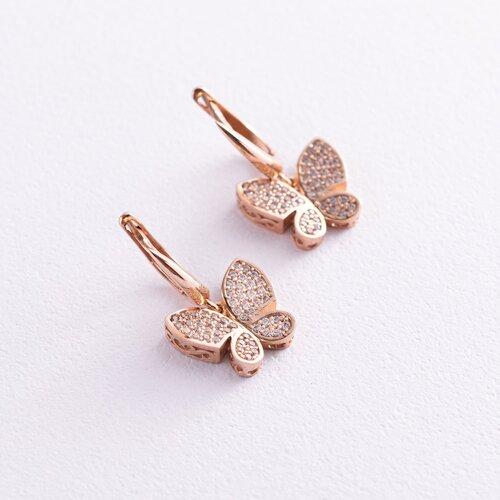Золотые серьги с бабочками. с05535