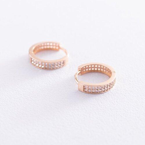 Золотые серьги - кольца с фианитами с06554