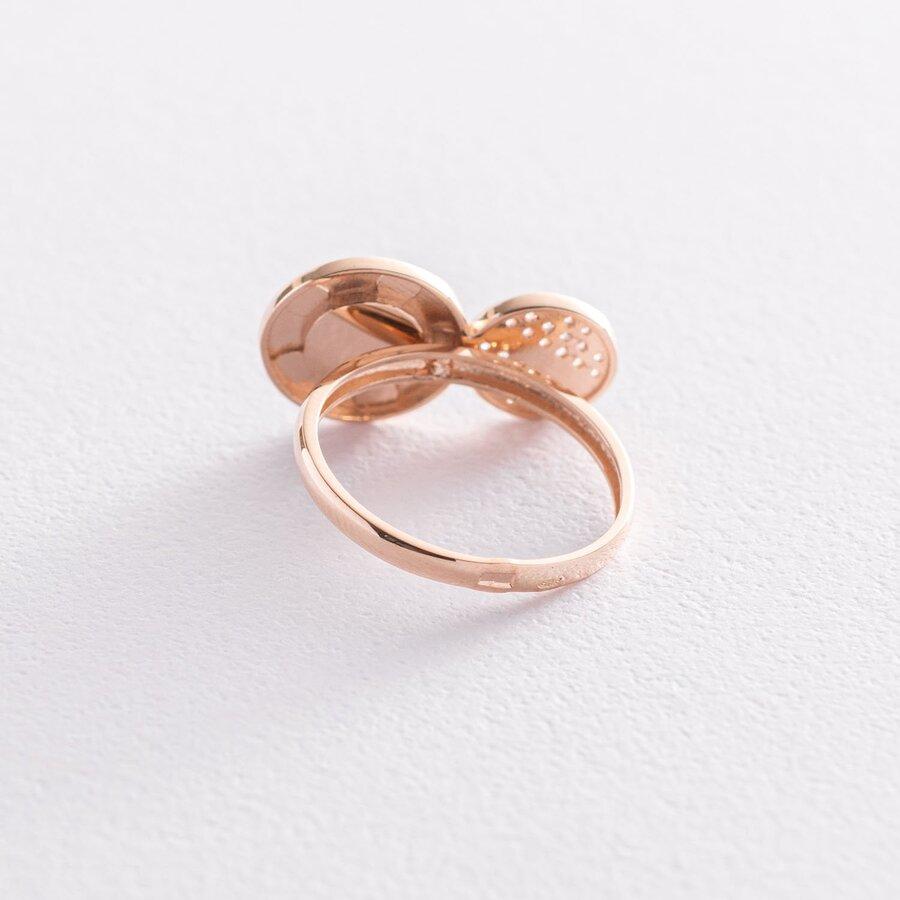 Золотое кольцо с фианитами и эмалью к06746
