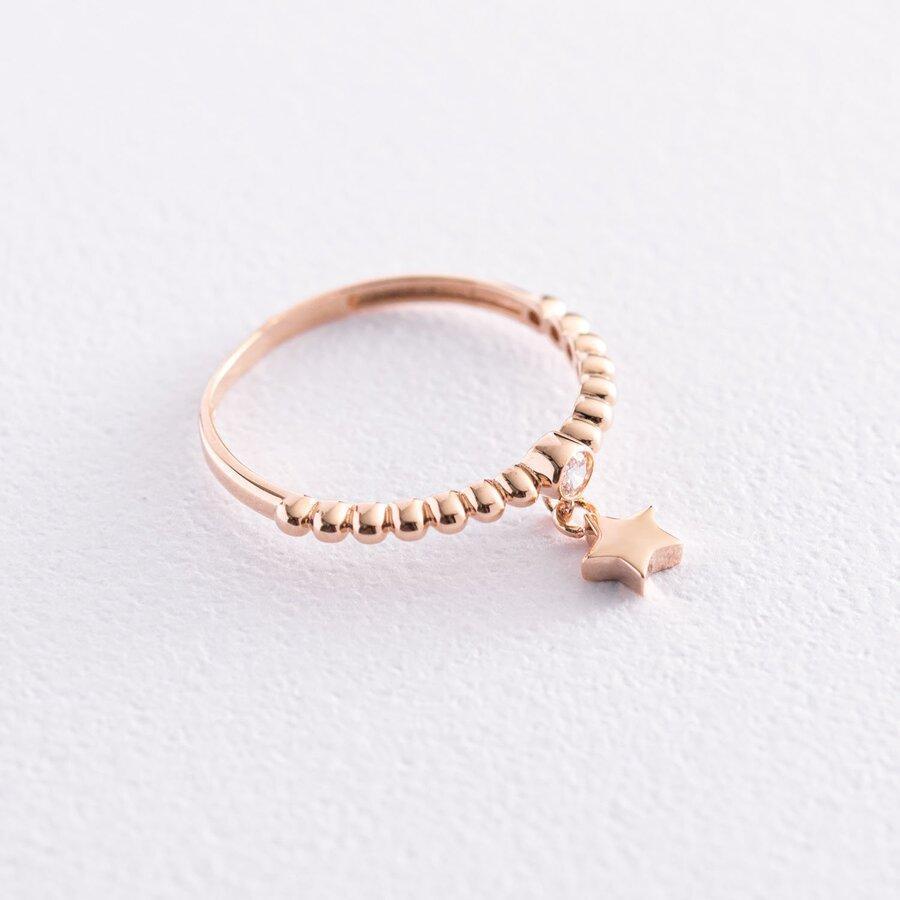 """Золотое кольцо """"Звездочка"""" с фианитом к06801"""