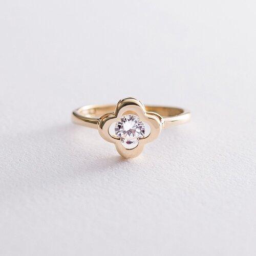 """Золотое кольцо """"Клевер"""" с фианитом. к05258"""