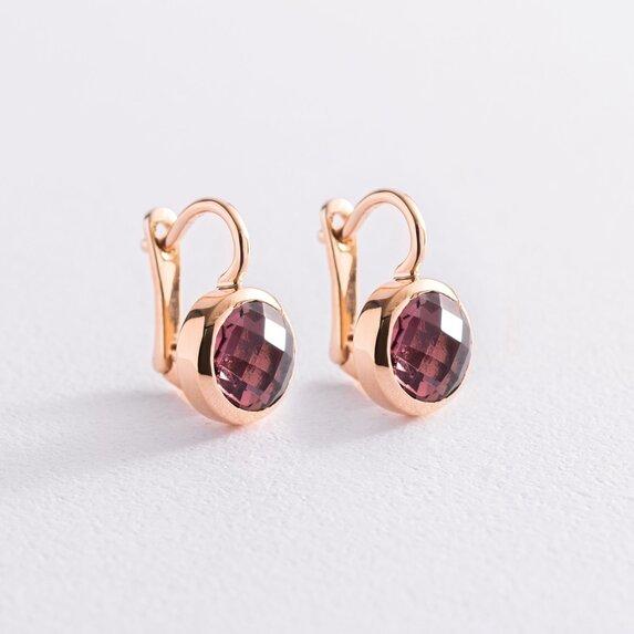 Золотые серьги с розовыми фианитами с07463