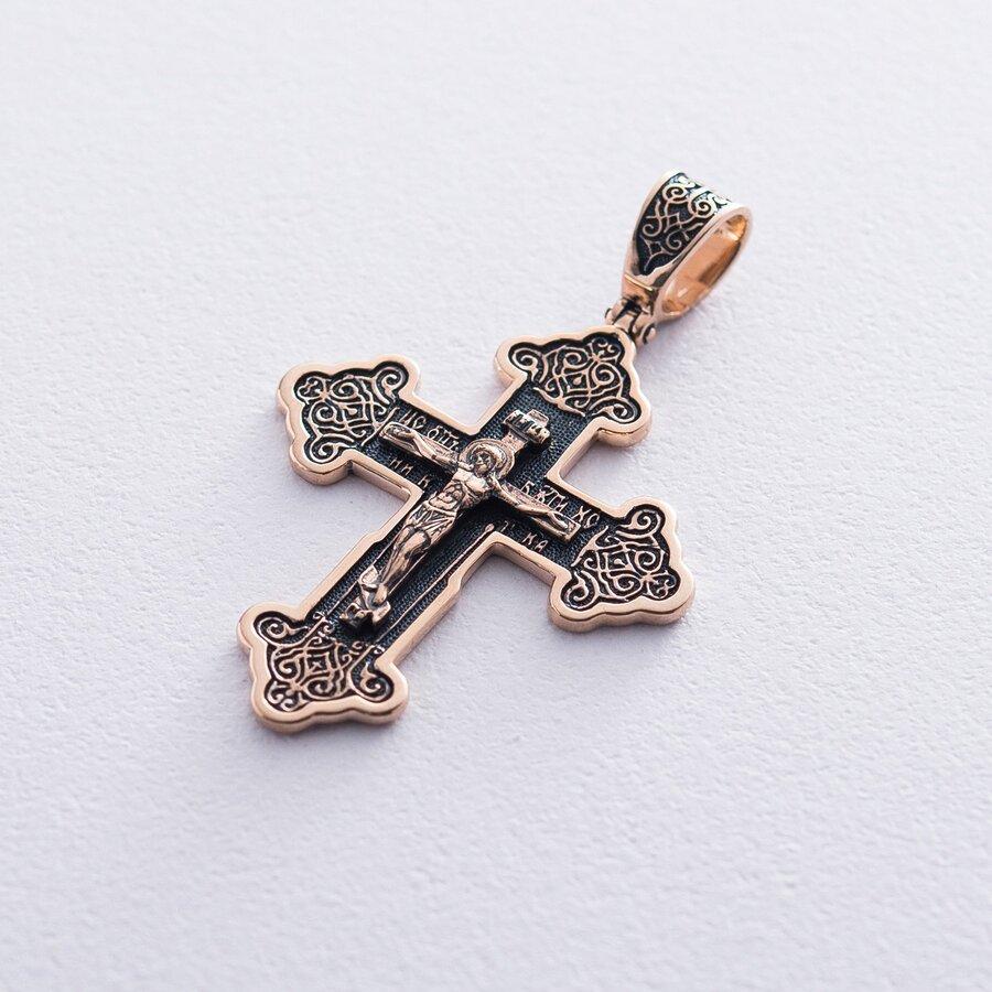 Золотой крестик с чернением п02771