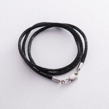 Чорний шовковий шнурок з застібкою з білого золота (2мм) кол00849