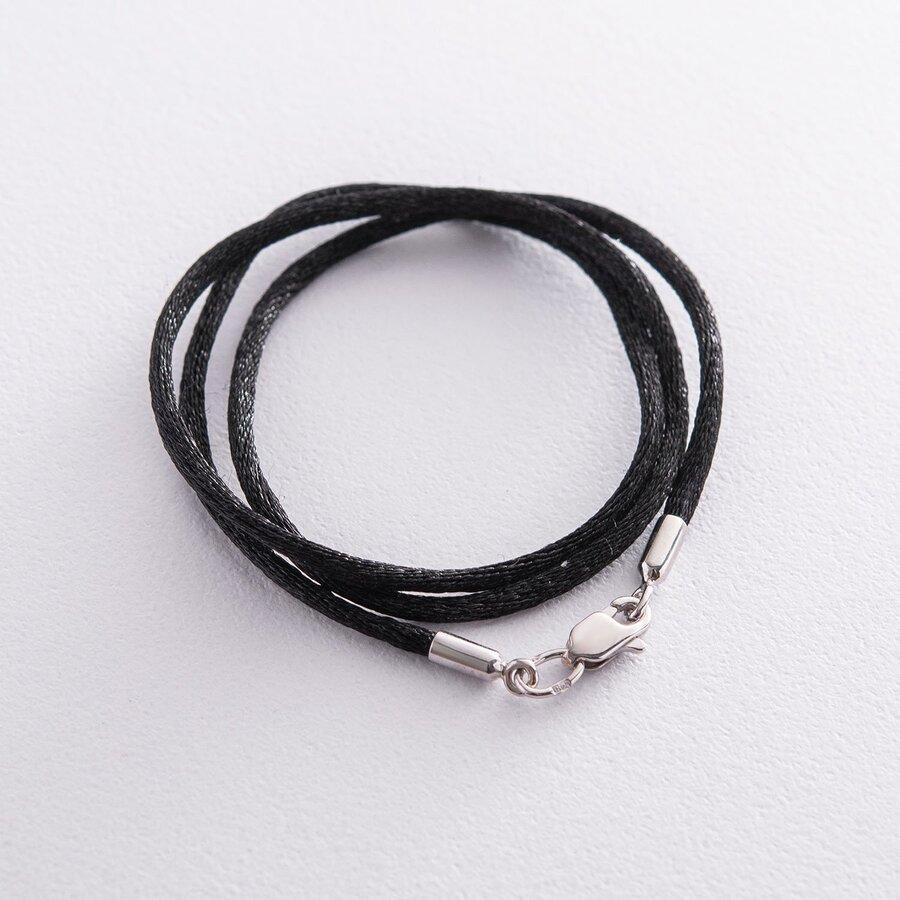 Черный шелковый шнурок с застежкой из белого золота (2мм) кол00849