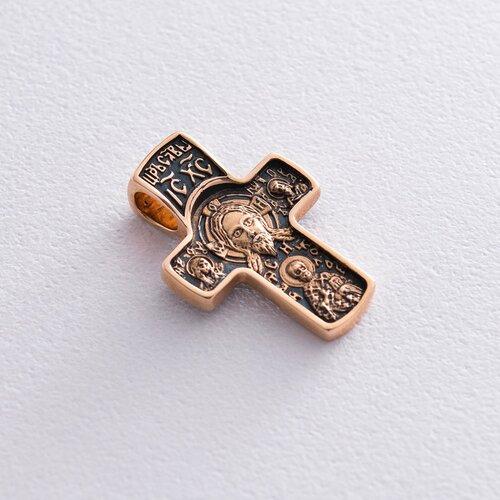 Золотой православный крест с чернением. п02573