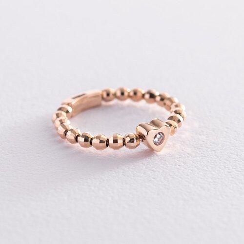 Золотое кольцо с сердечком (фианит) к06180