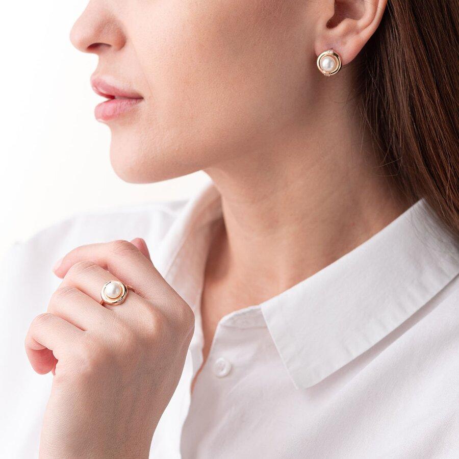 Золотое кольцо (жемчуг, фианиты) к06579